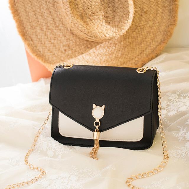 Bags for Women Luxury Designer Cover Tassel Chain Shoulder Small Square Bag Messenger Crossbody Bag Pearl Cat Bolsa Feminina