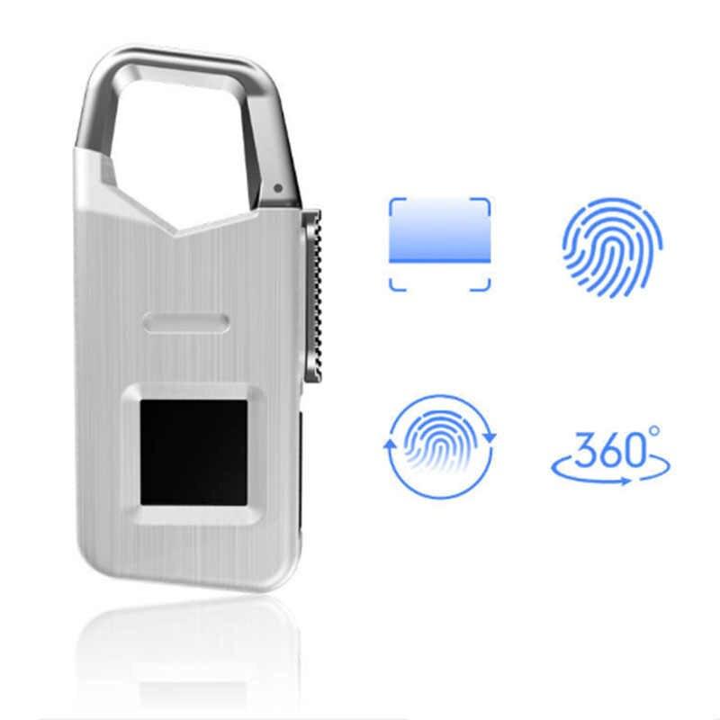 Ams-portable extérieur touristique biométrique Intelligent serrure d'empreintes digitales étanche Usb cadenas de charge, adapté aux Touris en plein air
