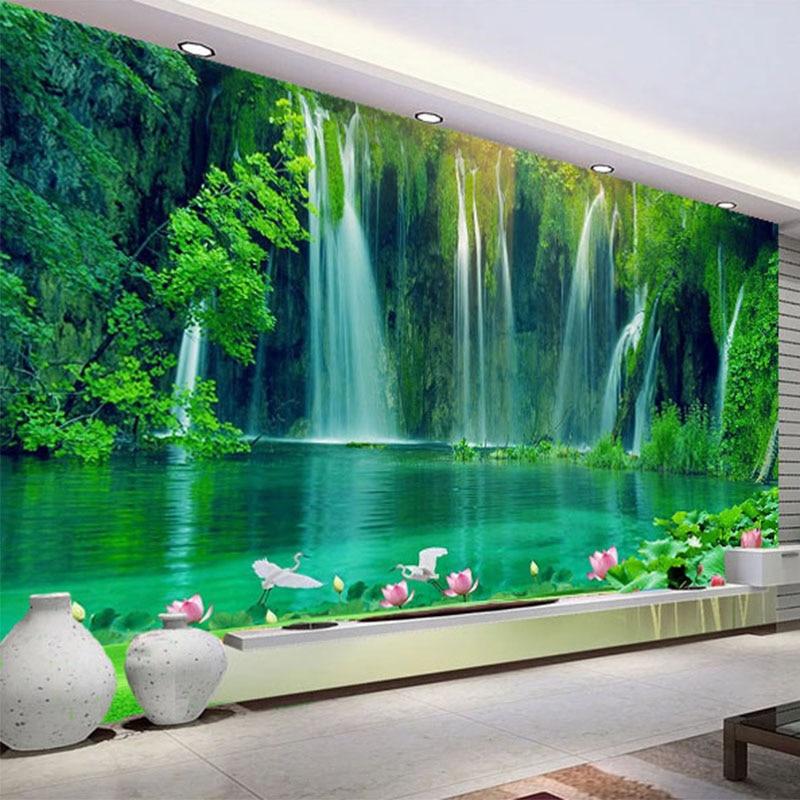 Custom 3D Wallpaper Modern Waterfall Nature Scenery Photo Wall Murals Living Room TV Sofa Study Background Wall Papel De Parede