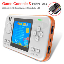 Portable Power Bank 8000mAh Battery Capacity Power Bank with 2.8 Inch LCD Game Player Built in 416 Games Video Game Console(China)