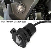 Cubierta de cargador USB para coche, divisor de enchufe con adaptador de corriente de luz Led, montaje de enchufe de motocicleta para Honda CB500X 2019, 2 uds.