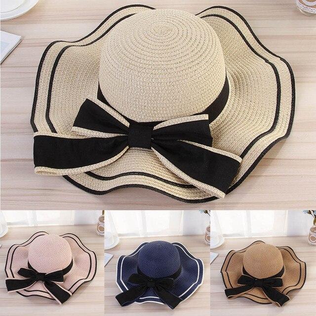 Summer Straw Hat Women Wide Brim Sun Protection Beach Hat Adjustable Floppy Foldable Sun Hats for Women Ladies Jazz Fedora