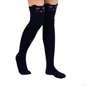 2020 Women Cat Socks Fashion Stockings Casual Cotton Thigh High Over Knee Cotton High Socks Girls Womens Female Long Knee Sock