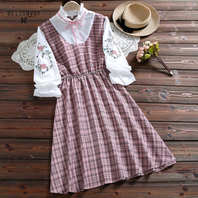 Japanese Preppy Style Autumn Women Mini Dress Ruffled Collar Contrast Color Plaid Loose Dress Floral Embroidery Kawaii Student's