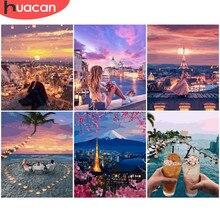 HUACAN bezramowe nocne niebo obraz scenerii według numerów rysunek na płótnie ręcznie malowany obraz prezentowy według numeru krajobraz miejski zestawy