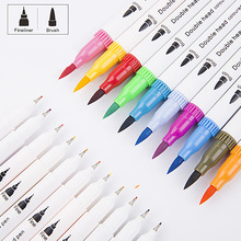 12/24 Stks/set Double Headed Marker Kleur Mark Pen Eenvoudige Mode Tekening Pen Studenten Briefpapier