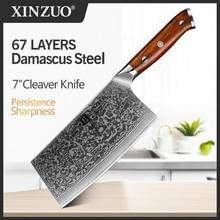 "XINZUO 6.5 ""חיתוך סכין דמשק נירוסטה גדול cleraver סכינים באיכות גבוהה יפני פלדה שף סכין Rrosewood ידית"