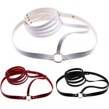 Womens Harajuku Adjustable Waist Belt Faux Leather and Alloy Body Harness Necklace Choker for Adult Sex Cosplay Toy