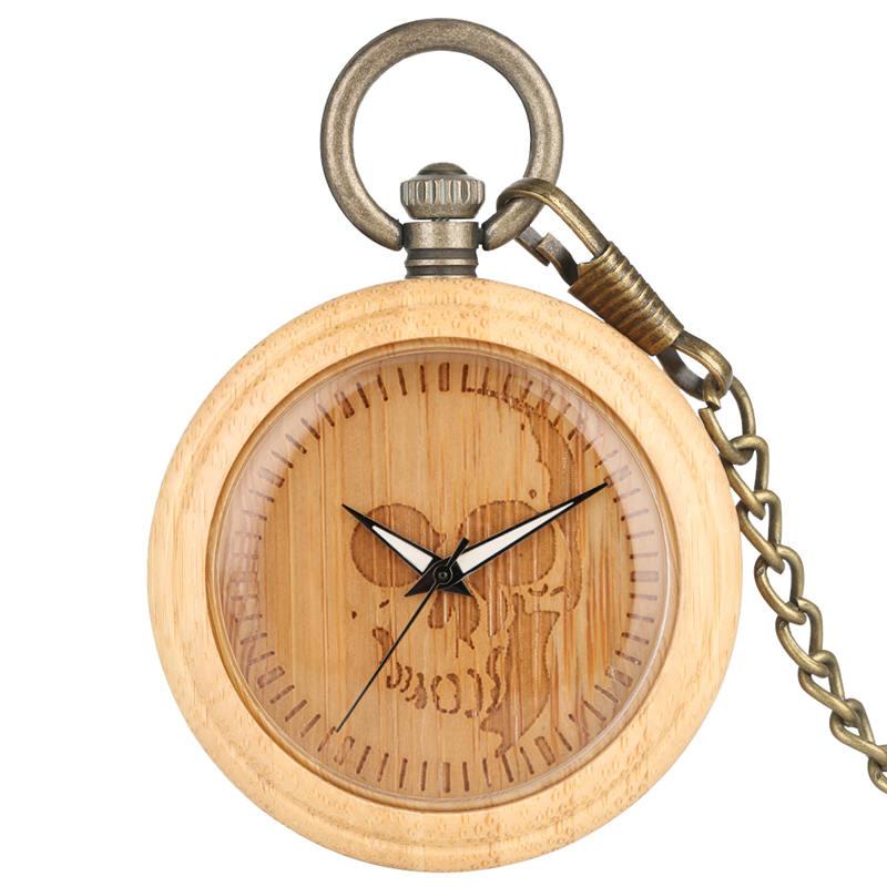 Steampunk Skull Pocket Watch Lightweight Bamboo Open Face Pendant Watches Handmade Chain Watches Gift Reloj Bolsillo