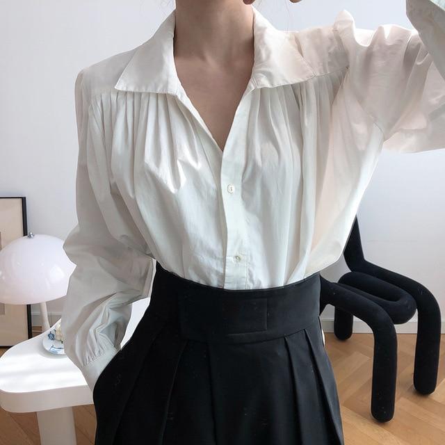 2020 Women Autumn Puff Sleeve Blouses Long Sleeve Turn Down Collar Womens Tops And Blouses White Shirt Blusas Roupa Feminina 3