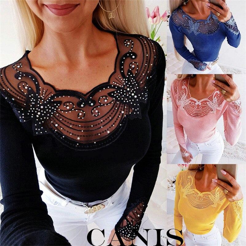 2019 Women Sexy Mesh See Through Butterfly Beaded V-neck Blouse T-shirt Outwear Diamond T-shirt Ladies Long Sleeve Casaul Tops