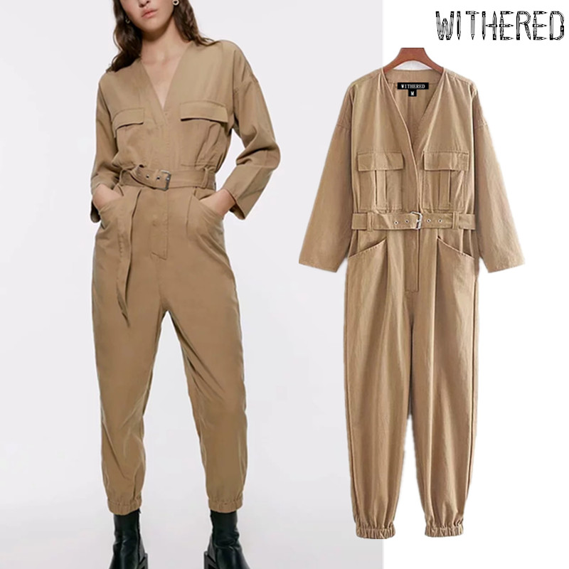 Withered Jumpsuit Women England Style Pockets Khaki Color Vintage Twill Sashes Cargo Rompers Womens Jumpsuit Combinaison Femme