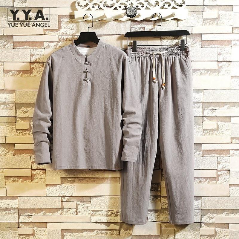 Mens Casual Long Sleeve Top Loose Set Lace Up Pantsuit Tracksuit Vintage Cotton Linen Harajuku Plus Size Men Two Piece Outfits