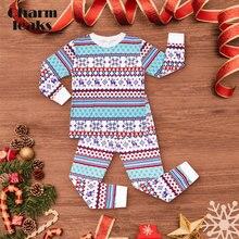 Charmleaks/Детский Рождественский пижамный комплект, Рождественская Детская одежда для сна, Детская домашняя одежда, комплект зимней одежды