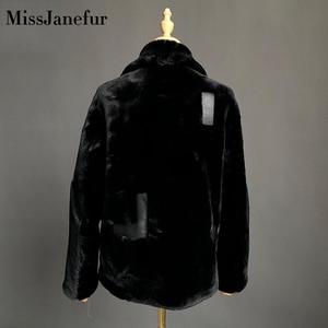 Image 4 - משלוח חינם נשים אופנה אמיתי עור מעיל חורף חם פרווה מעיל עור כבש צמר מעילים בתוספת גודל כבשים shearling