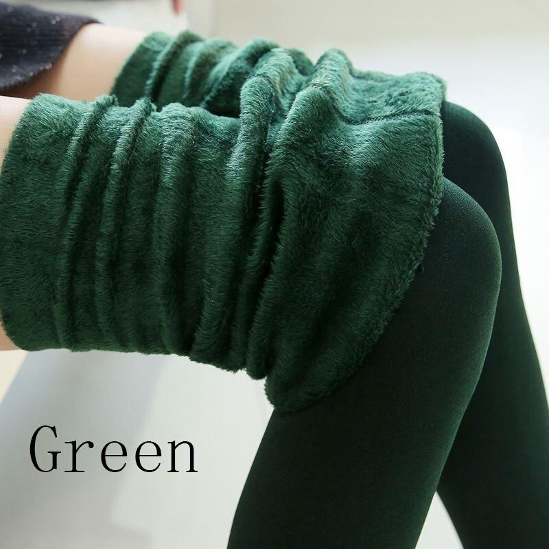 Новые модные женские осенне-зимние штаны высокого эластичности и хорошего качества, плотные бархатные штаны, новые теплые леггинсы Rooftrellen - Цвет: 88 green