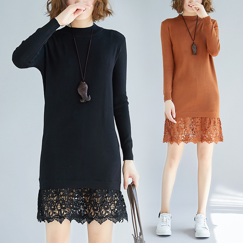 New Style Autumn And Winter Large Size Fashion Hem Lace Joint Mid-length Base Jersey Dress