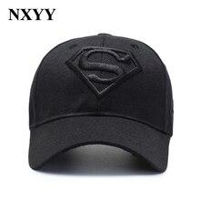 NXYY Black Superman Cap S LOGO Bone Hat Embroidered Outdoor Baseball