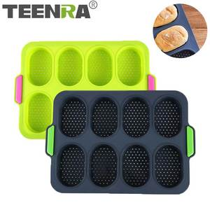 TEENRA Baking-Pan Bread-Mold Cake-Bakeware Silicone 3D for 8-Cavity Moulds