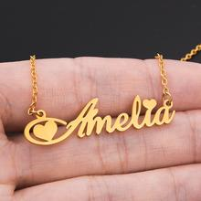 Personalized Custom Name Necklace For Women Girls Stainless Steel Letter Customized Nameplate Gift