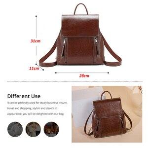 Image 4 - Yonder kobiety plecak szkolne torby dla nastolatków dziewczyny prawdziwy skórzany plecak szkolny dla kobiet o dużej pojemności mochila brown 2019