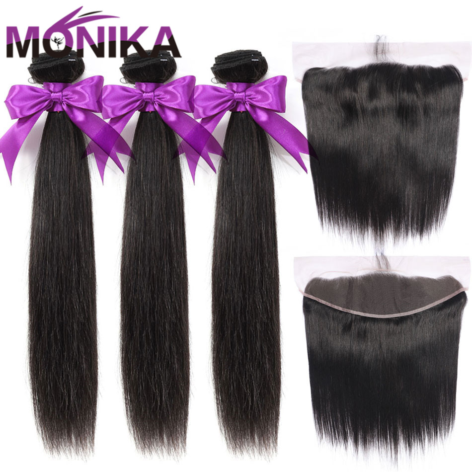 Monika Hair Malaysia Straight Hair Bundles With Frontal 28inch Human Hair Frontal With Bundles Non-Remy Hair Frontal And Bundles