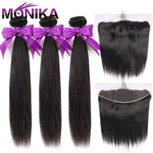 Monika Hair Malaysia Straight Hair Bundles with Frontal 28inch Human Hair Frontal with Bundles Non Remy Hair Frontal and Bundles