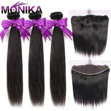 Monika cheveux malaisie paquets de cheveux raides avec Frontal 28 pouces cheveux humains frontaux avec faisceaux non remy cheveux frontaux et faisceaux
