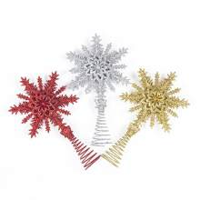 1Pc Christmas Tree Hanging Baubles Glitter Iron Star Snowflake Party Christmas Decoration Ornament Red Christmas Party Decor(China)
