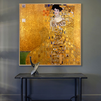Portrait Of Adele Bloch By Gustav Klimt Canvas Paintings On the Wall Art Gold Famous Art Posters And Prints Wall Pictures Decor image