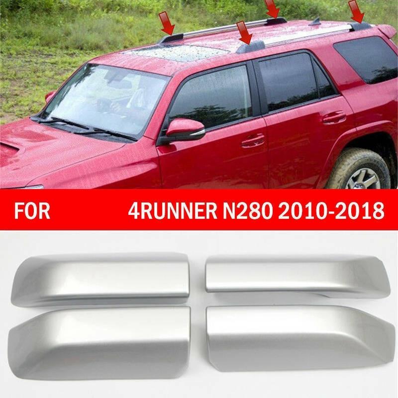 4X Silver Roof Rack Bar Rail End Cover Shell Cap for Toyota 4 Runner 2010-2018