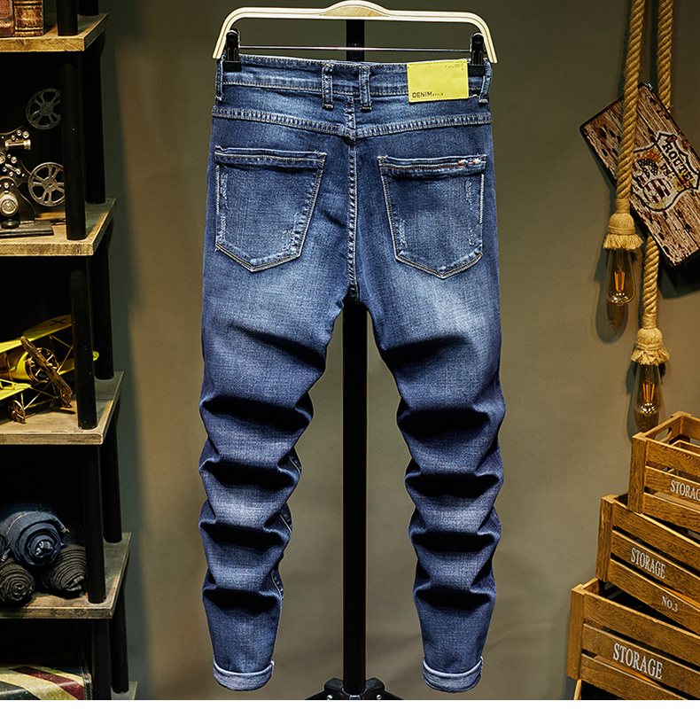 KSTUN Ripped Denim Jeans Men Stretch Blue Color Slim Fit Fashion High Street Scratched Quality Brand Jeans Male Long Trousers 12