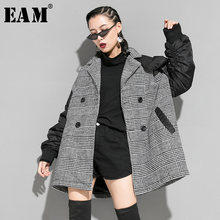 [Eam] Losse Fit Black Plaid Double Breasted Big Size Jacket Nieuwe Revers Lange Mouwen Vrouwen Jas Mode Lente herfst 2020 1K155(China)