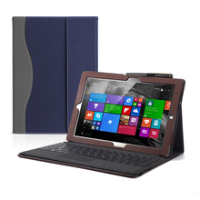 Tablet Case Cover For Surface Pro X 13 inch with Pen Slot PU Leather Shockproof Flip Folding Stand Full Protective