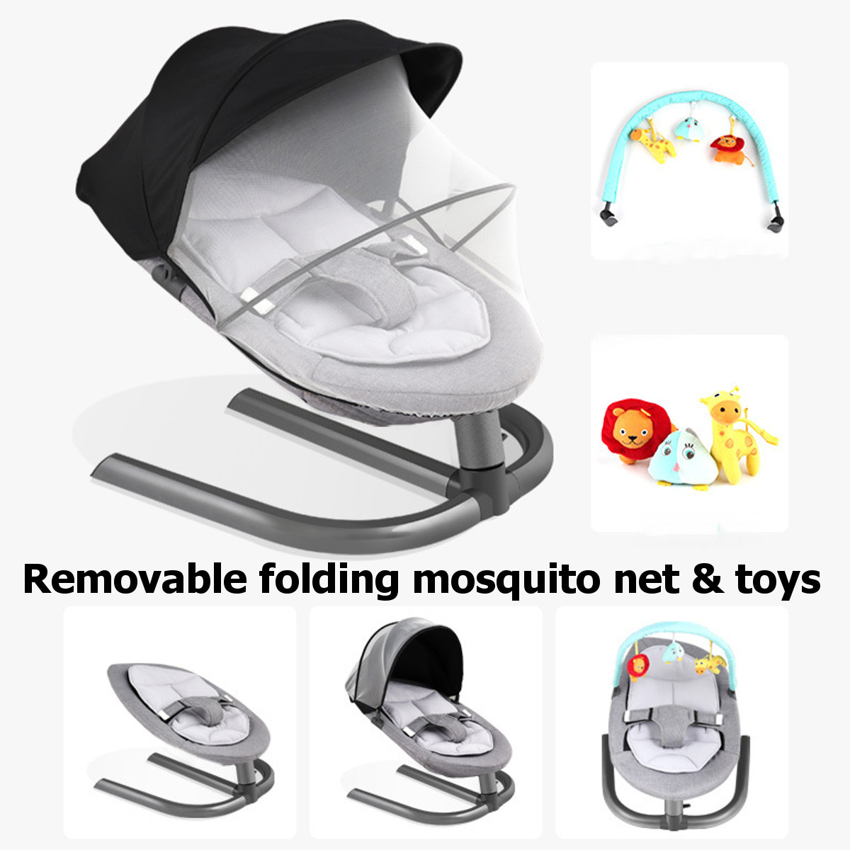 Hb5a11460d1134784a68be9adbc35bc84T Newborn Electric Swing Multifunctional  Baby Bouncer Cradle Rocking Chair With Mosquito Net Cradle Crib Sleeping Safety Basket