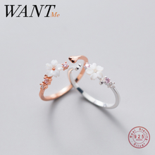 WANTME New Fashion Korean Sweet Shell Flower Open Ring for Women 2020 Genuine 925 Sterling Silver Party Birthday Jewelry Gift