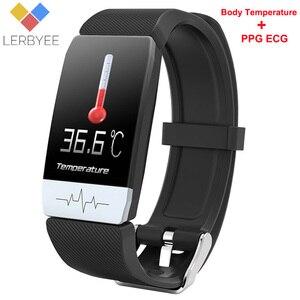 """Image 1 - Lerbyee T1s חכם שעון גוף טמפרטורת קצב לב צג כושר שעון אק""""ג מוסיקה בקרת ספורט Smartwatch גברים נשים 2020 חדש"""
