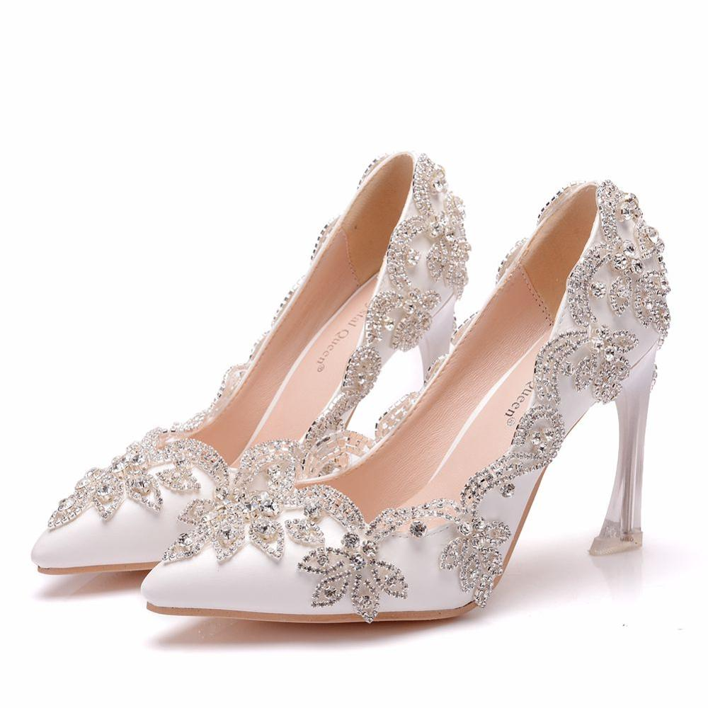 Crystal Queen Wedding Shoes Bride Clear Heels Crystal Pumps Christmas Day Evening Party Luxury Q9cm High Heels Woman Shoes