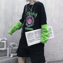 Spring Woman T Shirt Black Splice Long Sleeve O Neck Female T shirts Vintage Fluorescent Green letters Printed Women T-shirt Top(China)
