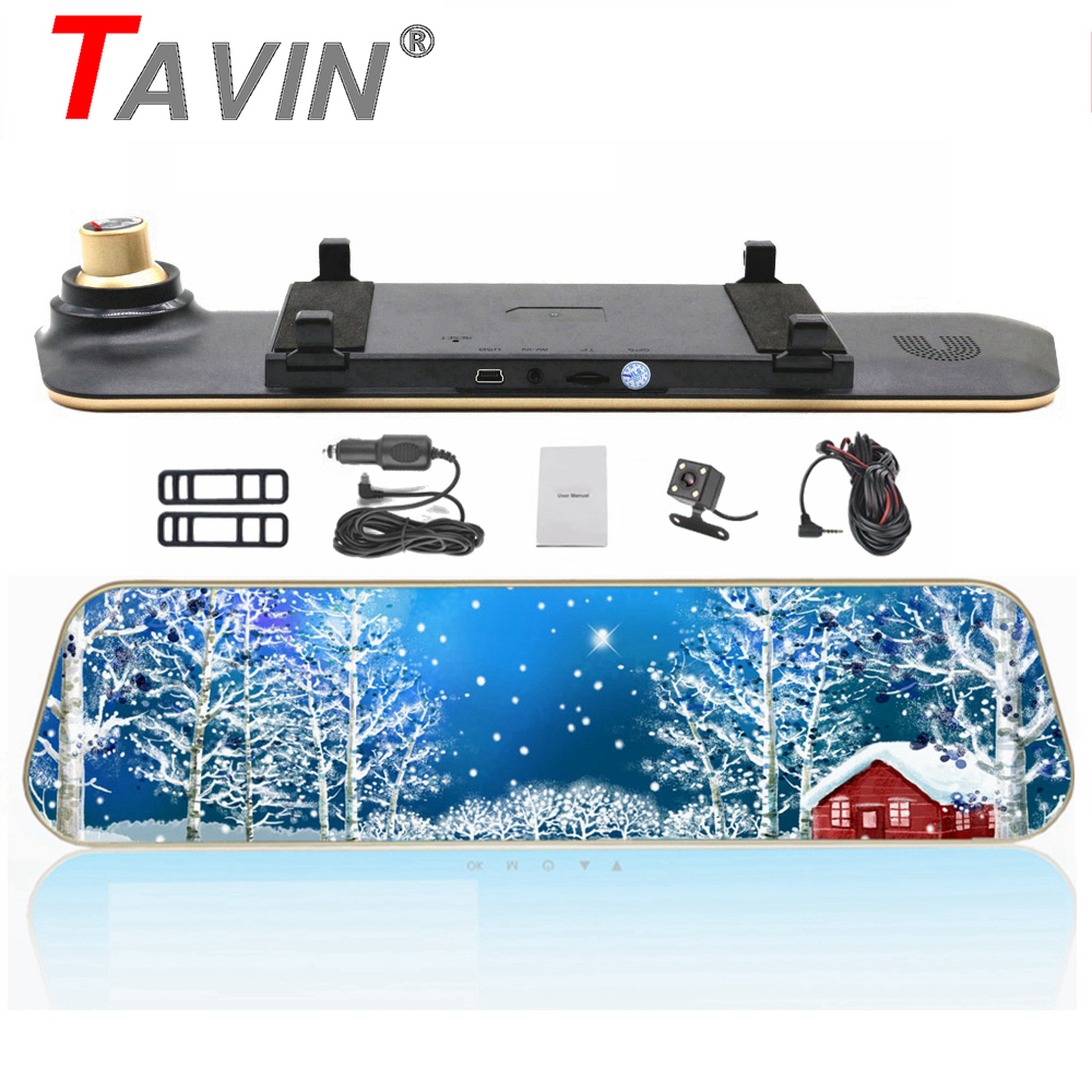 TAVIN Full HD 1080P Car Dvrs Rear View Mirror With Dual Lens Camera Night Vision Dash Cam Dvr Digital Video Recorder DVR