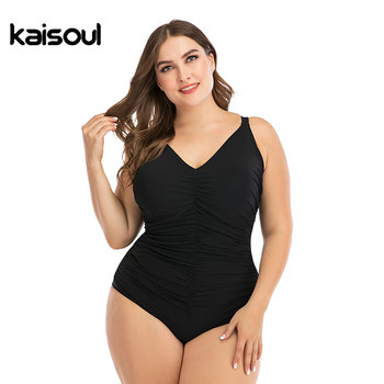 2020 New Solid Black Pleated Large Size 6XL One Piece Swimsuit Women Sexy Backless Plus Big XXL Swimwear Slim Beach Bathing Suit 1