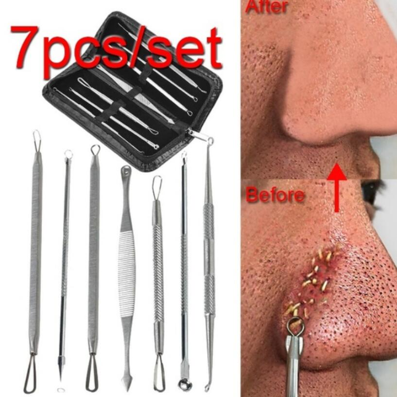 3 4 5 7 8 Pc Stainless Steel Blackhead Remover Tool Whitehead Pimple Spot Comedone Acne Extractor Remover Popper Face Tool Kit
