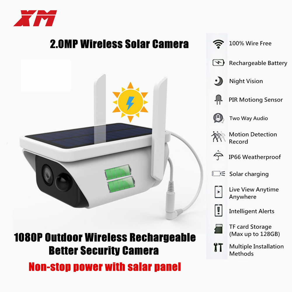 Solar Powered Wireless Outdoor 1080P Home Security Camera 2.4G Wifi Camera With Accurate Motion Detection And Wide Angle Range