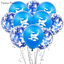 Twins Party 10pcs White Blue Cloud Planes Balloons Inflatable Air For Baby Boy Birthday Decoration