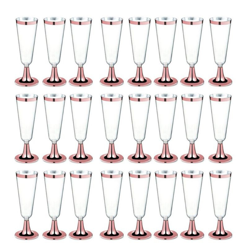 High Quality 150 ml Plastic Rose Gold Rimmed Clear Hard Disposable Party Wedding Cups Premium Fancy Champagne Glasses flutes