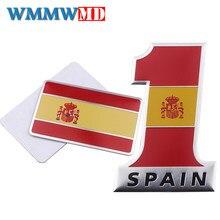 3d alumínio espanha bandeira emblema emblema etiqueta do carro para bmw seat leon mercedes audi citroen peugeot ford onda nissan mazda mercedes