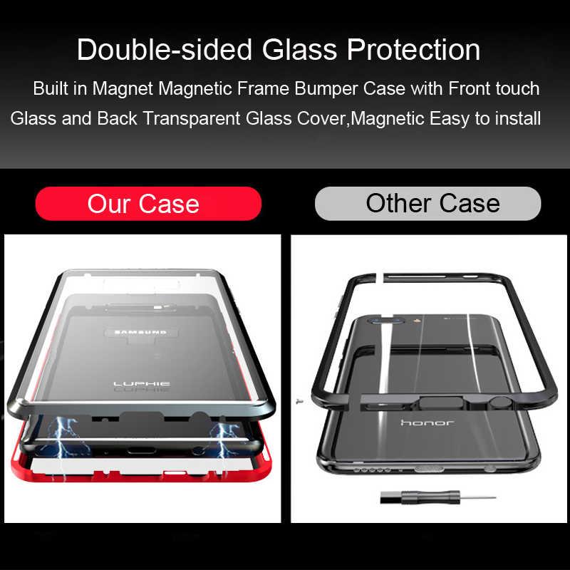 360 Full Case Für Samsung Galaxy S8 Plus S8Plus S9 Hinweis 9 8 Magnetische Metall Stoßstange Gehärtetem Glas Abdeckung Für samsung S8 Fall coque