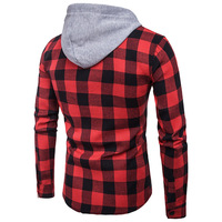 CYSINCOS Male Casual Cotton Men Clothes Red Slim Plus Size Camisa Men Plaid Shirts Fashion Korean Wild Long Sleeve Hooded Shirt