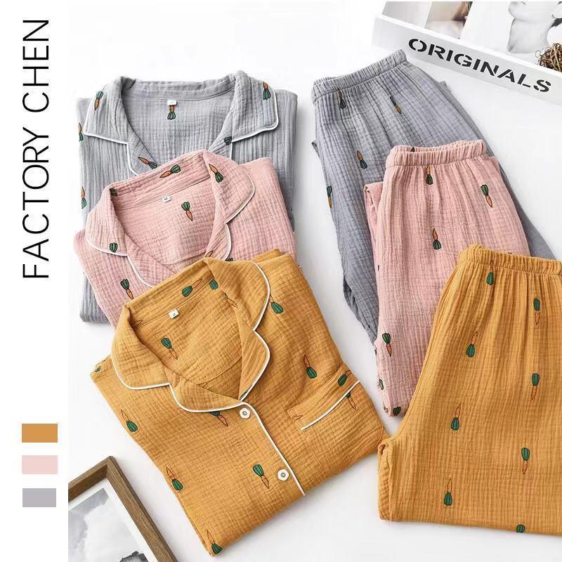 2019 New Carrot Autumn And Winter Pajamas Couple Pajamas Set 100% Cotton Double Gauze Long Sleeved Trousers Homewear Suit