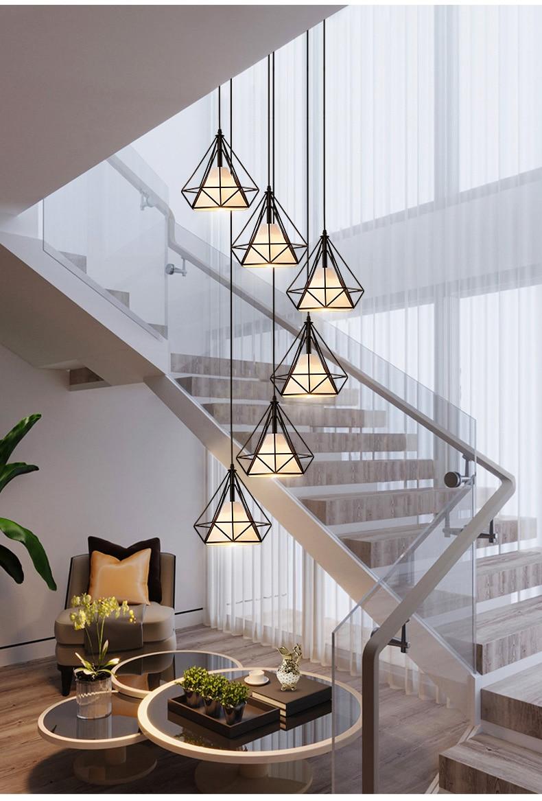 Modern LED Chandelier Ceiling Nordic Living Room Pendant Lamps Bedroom Fixtures Stair Lighting Iron Hanging Lights